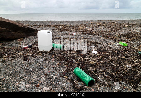 Plastic and other Debris Washed up on the Beach of Fleswick Bay Near St Bees, Cumbria, UK - Stock Photo