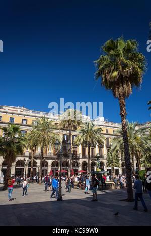 plaza real square famous landmark in central barcelona las ramblas old town spain - Stock Photo
