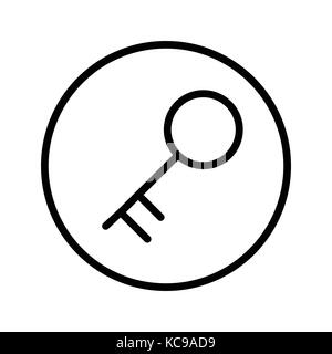 Vector of Key icon in Circle line, iconic symbol inside a circle, on white background.  Vector Iconic Design. - Stock Photo