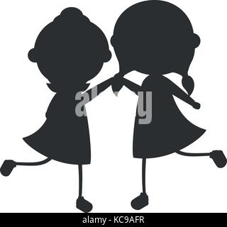 cute little girls silhouette characters vector illustration design - Stock Photo