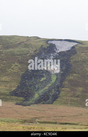 Peat landslide slide or bog burst, Shetland Mainland, Shetland Islands, Scotland, UK - Stock Photo
