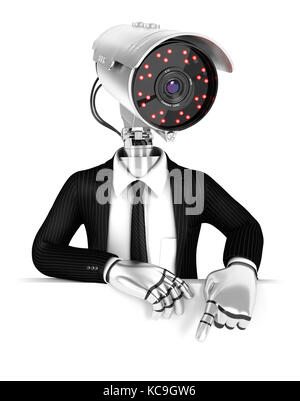 3d security agent with camera head pointing to empty wall, illustration with isolated white background - Stock Photo