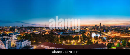 Vilnius, Lithuania. Sunset Cityscape. Palace Of The Grand Dukes Of Lithuania And Modern Office Buildings Skyscrapers - Stock Photo