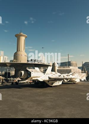 Spaceship at Future City Spaceport - Stock Photo