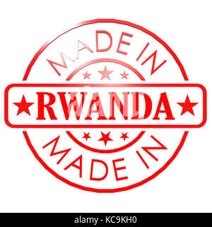 Made in Rwanda red seal image with hi-res rendered artwork that could be used for any graphic design. - Stock Photo