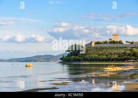 Scenic view of the Lake Trasimeno, Umbria, Italy from the town of Castiglione del Lago - Stock Photo