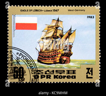 Postage stamp from North Korea depicting old sailing ship The Eagle of Lubeck, Lubeck 1567 - Stock Photo