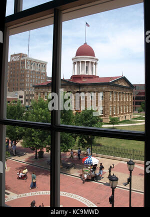 The Old State Capitol in Springfield, Illinois, seen through a window of the former law office of Abraham Lincoln - Stock Photo