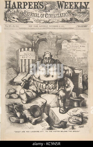'What are You Laughing at? To the Victor Belong the Spoils' (from Harper's Weekly), Thomas Nast, November 25, 1871 - Stock Photo