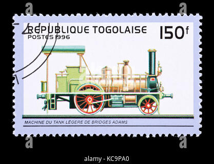 Postage stamp from Togo depicting an Adam Bridges light locomotive - Stock Photo
