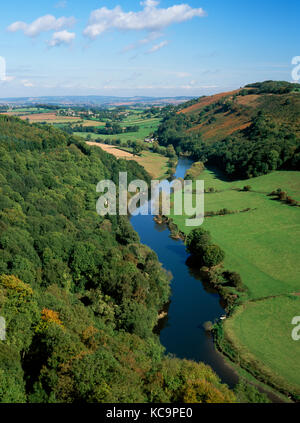 View from Symonds Yat Rock, Herefordshire, looking north east over River Wye, its valley & farmland to Goodrich - Stock Photo