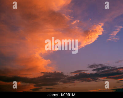 Gwaenysgor viewpoint, three levels of clouds at sunset, Clwydian Hills, Flintshire, Wales, UK - Stock Photo