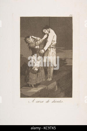 Plate 12 from 'Los Caprichos': Out hunting for teeth (A caza de dientes.), Goya, 1799 - Stock Photo