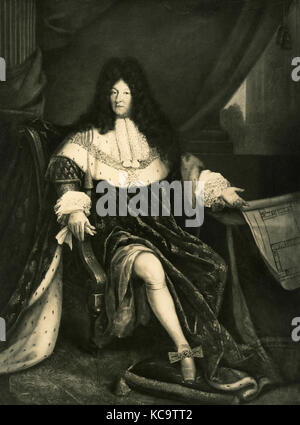 Portrait of Louis XIV king of France, painting by S. B. Saint André - Stock Photo