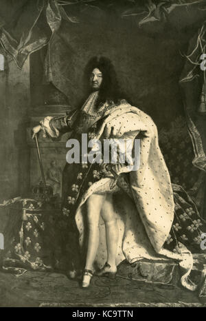 Portrait of Louis XIV king of France, painting by Hyacinthe Pigaud - Stock Photo