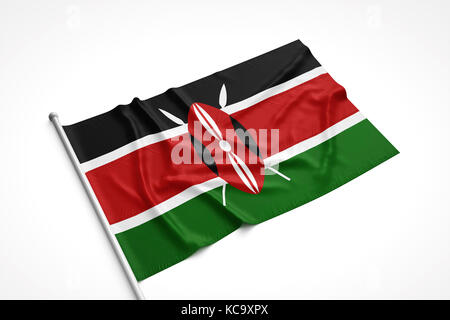 Kenya flag is laying on a white surface with flag pole attached. 3D Rendering. - Stock Photo