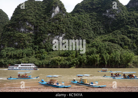 Beautiful Chinese natural landscape with karst hills, green mountains, countryside near Xingping, between Yangshuo - Stock Photo