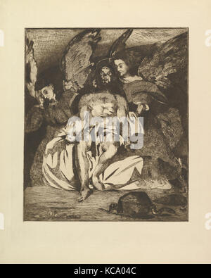 Dead Christ with Angels, 1866–67, Etching and aquatint in brown/black ink on wove paper, final state of three, plate: - Stock Photo