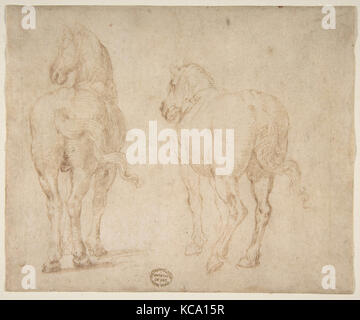 Horses., 1530–40, Pen and brown ink. Framing outlines in pen and brown ink on mount, 5 3/4 x 7in. (14.6 x 17.8cm), - Stock Photo