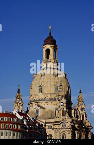 Dresdner Frauenkirche, Church of Our Lady, Dresden, Saxony, Germany - Stock Photo