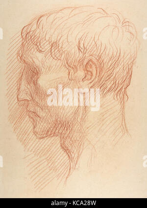 Head of a Quarryman, 1837–1911, Red chalk, 18 3/4 x 13 3/8 in. (47.6 x 34 cm), Drawings, Alphonse Legros (French, - Stock Photo