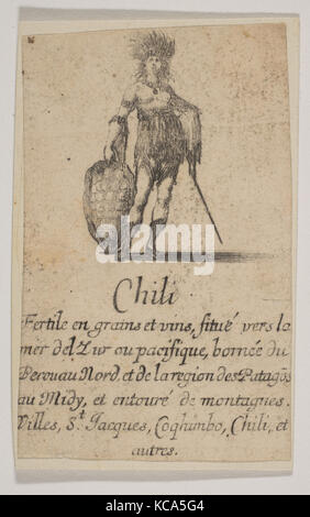 Chile, from 'Game of Geography' (Jeu de la Géographie), Etched by Stefano della Bella, 1644 - Stock Photo