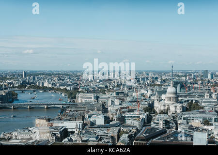 River Thames and London skyline seen from Sky Garden, the highest public garden in London - Stock Photo