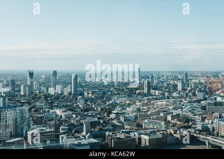 London Skyline seen from Sky Garden, the highest public garden in London - Stock Photo