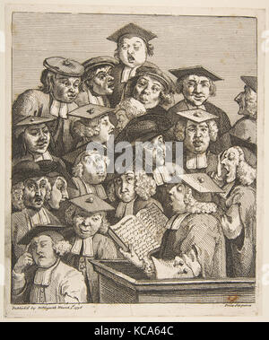 Scholars at a Lecture, William Hogarth, March 3, 1736 - Stock Photo