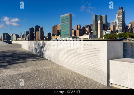 Manhattan Midtown East from Roosevelt Island (Franklin D. Rosevelt Four Freedoms Park). New York City - Stock Photo