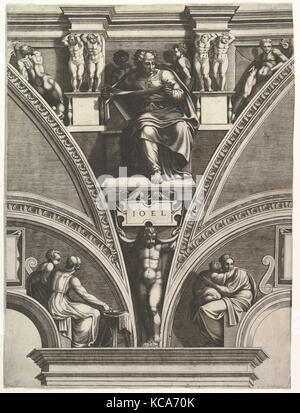 The Prophet Joel; from the series of Prophets and Sibyls in the Sistine Chapel, Engraved by Giorgio Ghisi, 1570–75 - Stock Photo