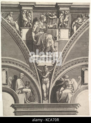 The Eritrean Sibyl; from the series of Prophets and Sibyls in the Sistine Chapel, Engraved by Giorgio Ghisi, 1570–75 - Stock Photo