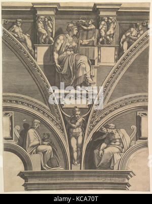 The Eritrean Sibyl; from the series of Prophets and Sibyls in the Sistine Chapel, Giorgio Ghisi, 1570–75 - Stock Photo