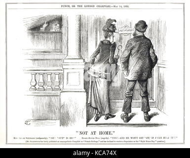 William Gladstone hiding from campaigners for female suffrage and an eight hour working day, Punch cartoon 1892 - Stock Photo