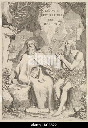 Title page: Arnaud d'Andilly, Les Vies des saints pères des déserts, Claude Mellan, 1647 - Stock Photo