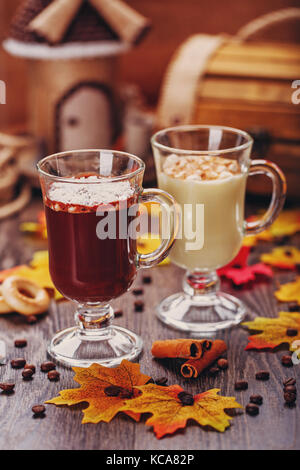 Dessert. Chocolate cocktail in a glass. - Stock Photo