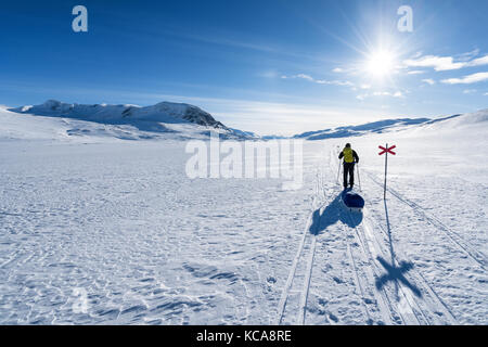 Ski touring in Kebnekaise massive area, Swedish Lapland, Sweden, Europe - Stock Photo