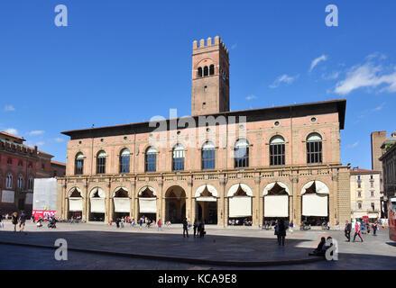 Palazzo del Podesta, Piazza Maggiore, Bologna, Italy - Stock Photo