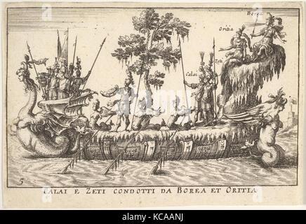 Calais and Zetes led by Boreas and Oreithyia (Calai e Zeti condotti da Borea et Oritia), with female-headed sea - Stock Photo
