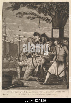 The Bostonians Paying the Excise-Man, or Tarring & Feathering, Attributed to Philip Dawe, October 31, 1774 - Stock Photo