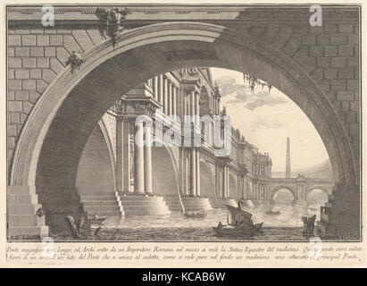 Magnificent bridge with loggias, and arches erected by a Roman Emperor . . . (Ponte magnfiico con Logge, ed Archi - Stock Photo