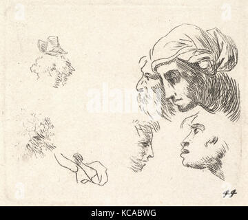 Study of heads in profile view, a woman with headcloth and bearded man whose heads overlap above, two facing profiles - Stock Photo