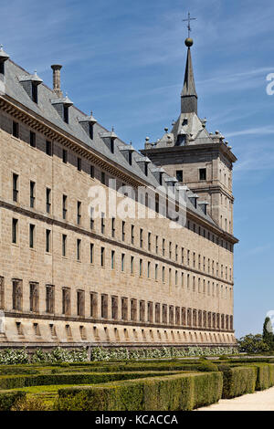 Monastery and royal residence San Lorenzo de El Escorial in Madrid, Spain - Stock Photo