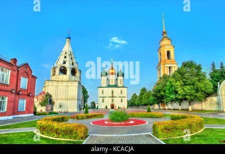 The ensemble of the Cathedral Square at Kolomna Kremlin, Russia - Stock Photo
