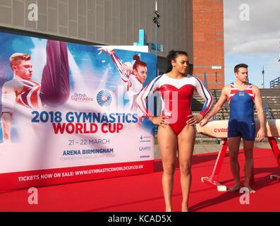 Midlands-based British Gymnastics stars Ellie Downie and Kristian Thomas officially announced that Birmingham has - Stock Photo