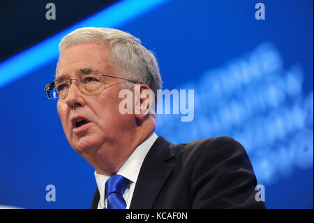 Manchester, UK. 3rd Oct, 2017. Michael Fallon, Secretary of State for Defence, delivers his speech to conference, - Stock Photo