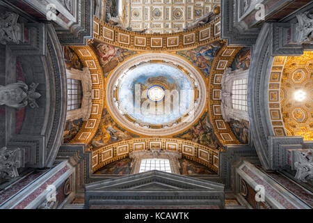 One of the ceilings in St Peter's Basilica in the Vatican City in Rome. - Stock Photo