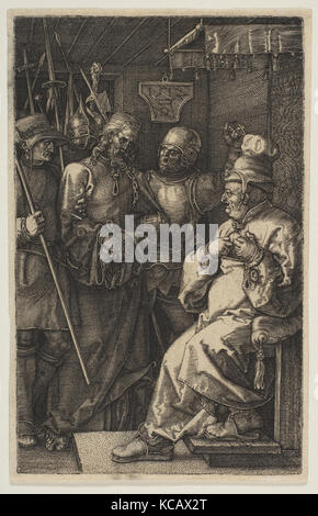 Christ before Caiaphas, from The Passion, Albrecht Dürer, 1512 - Stock Photo