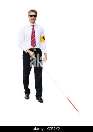 elderly blind man walking with a white stick with help. Black Bedroom Furniture Sets. Home Design Ideas