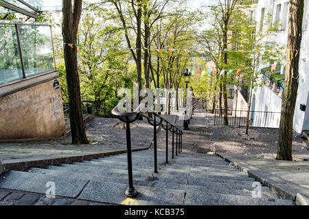 Montmartre street without people early in the morning - Stock Photo